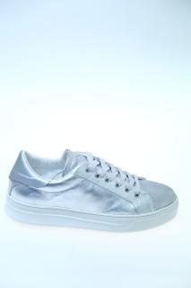 Sneakers Argento Pelle - CRIME