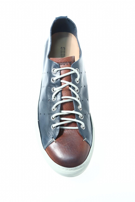 reputable site 5d03f 3637b Sneaker Blu Arancio Pelle SEBOY'S - Sneakers